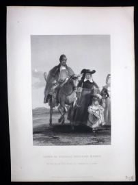 After David Wilkie C1870 Antique Print. Group of Figures Entering Madrid. Spain